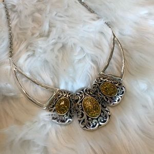 Silver and Gold Necklace Set by 4R